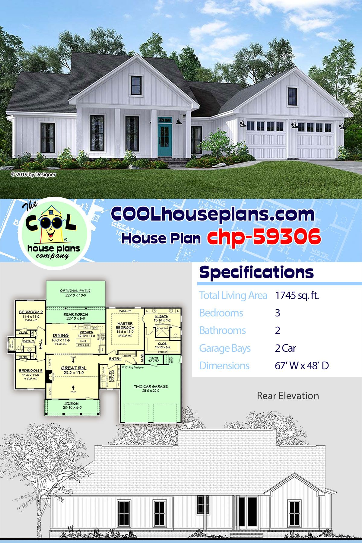 Southern Style House Plan 51985 With 3 Bed 2 Bath 2 Car Garage House Plans Best House Plans Farmhouse Style House
