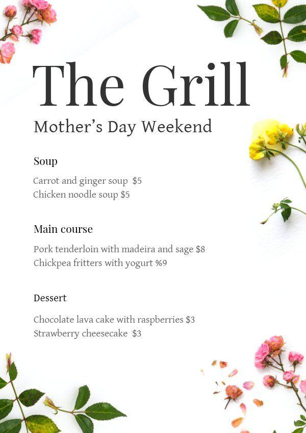 Mother's Day Restaurant Menu Template | Menu restaurant ...