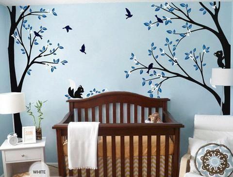 Full Corner Tree Squirrel Bird Flower Wall Decals Nursery Kids Baby Decor Wall  Art Sticker Part 73