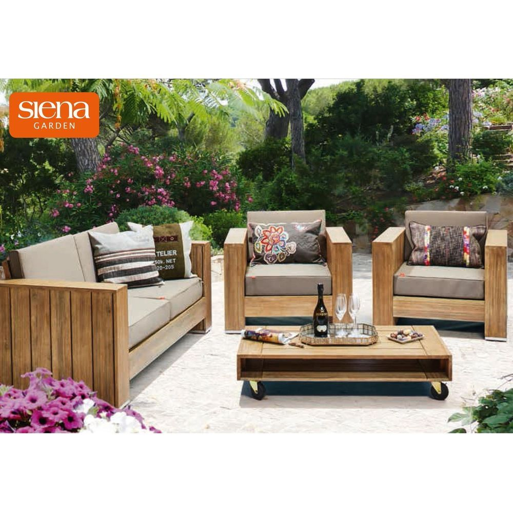 siena garden lounge set halmstad akazienholz 4 teilig. Black Bedroom Furniture Sets. Home Design Ideas