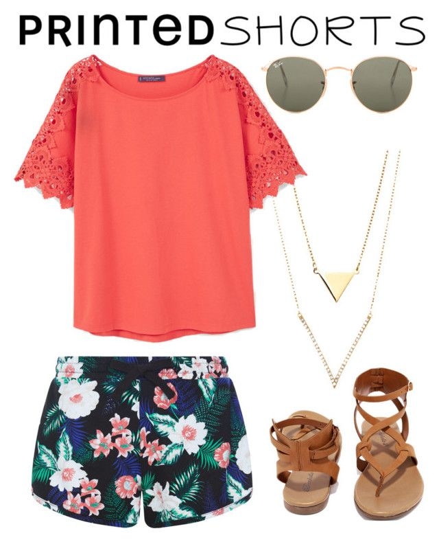 """""""Peach prints"""" by magpie3939 ❤ liked on Polyvore featuring New Look, Violeta by Mango, Breckelle's, Ray-Ban and printedshorts"""