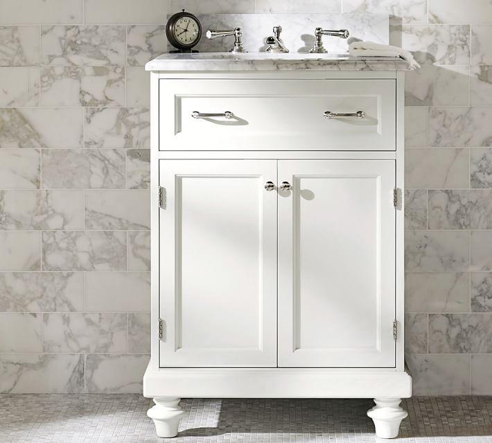 Custom Classic Mini Sink Console with Doors - Carrara Marble