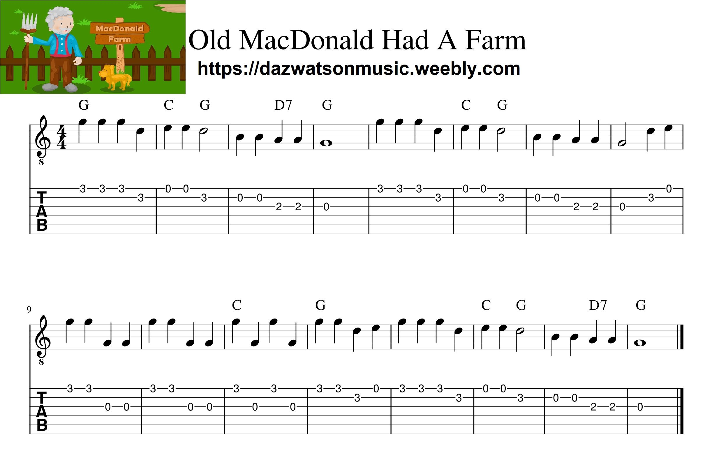 Old MacDonald Had A Farm easy guitar tab (With images