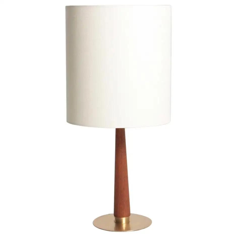 Midcentury Danish Table Lamp In Brass And Teak 1950s In 2020 Table Lamp Lamp Danish Table