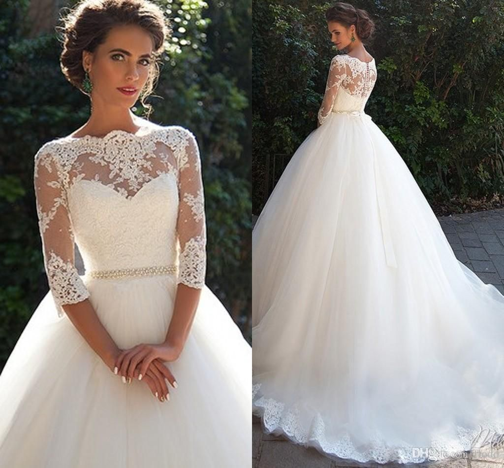 Vintage Lace 3 4 Long Sleeve Ball Gown Wedding Dresses Milla Nova 2016  Sheer Neckline White Tulle Bridal Gowns With Covered Buttons 2015 Ball Gown  Wedding ... 2237dad05573