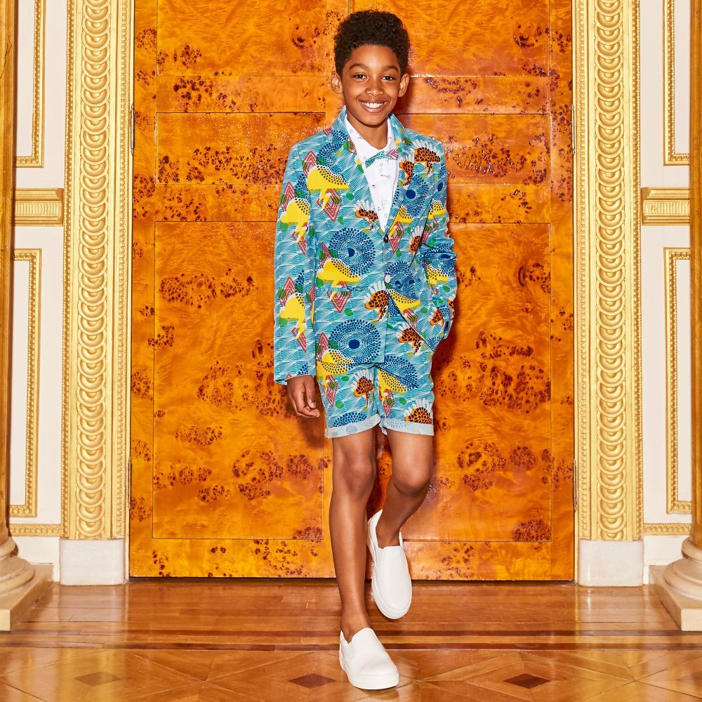 Boys blue shorts by Billybandit, with a colourful print