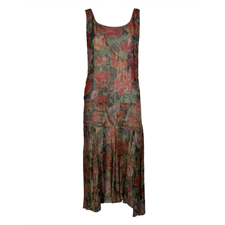 55f72bce8a 1920 s Floral Print Silk Lamé Flapper Dress - Fantastic 1920 s flapper dress  is made from the most gorgeous silk lamé with flowers printed in vivid  shades ...