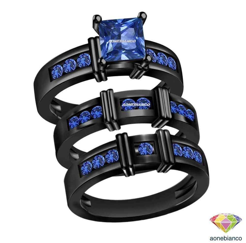 Princess Cut Blue Sapphire Trio Bridal Matching Wedding His Her
