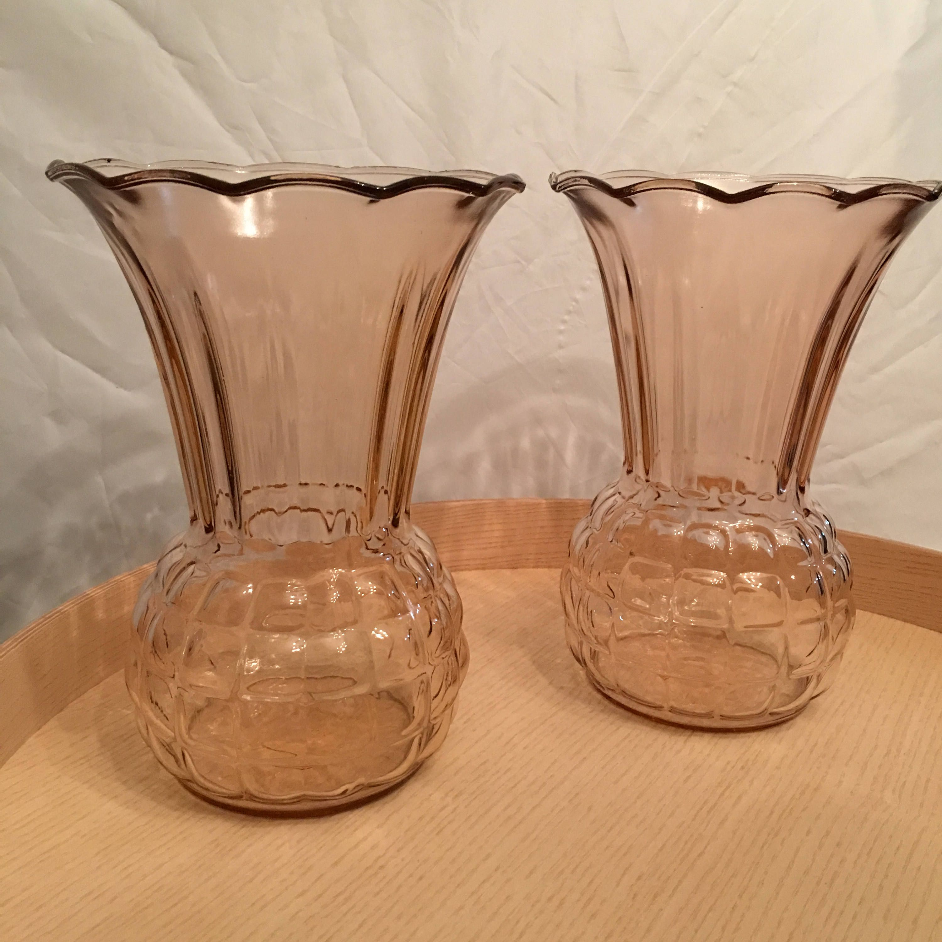 Depression Glass Pineapple Pattern Vases  Two Large Pink Glass