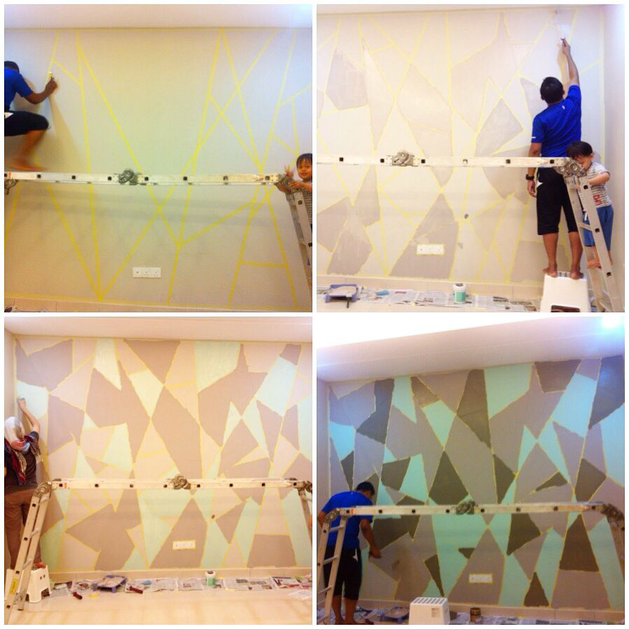 DIY geometric feature wall For this project, we used - masking tapes ...