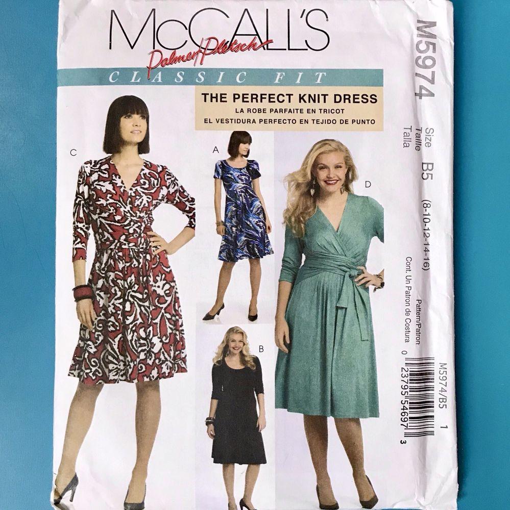 5783c482ead McCalls 5974 Misses Knit Wrap Dress Zip Palmer Pletsch 8 10 12 14 16 UC  Pattern | eBay