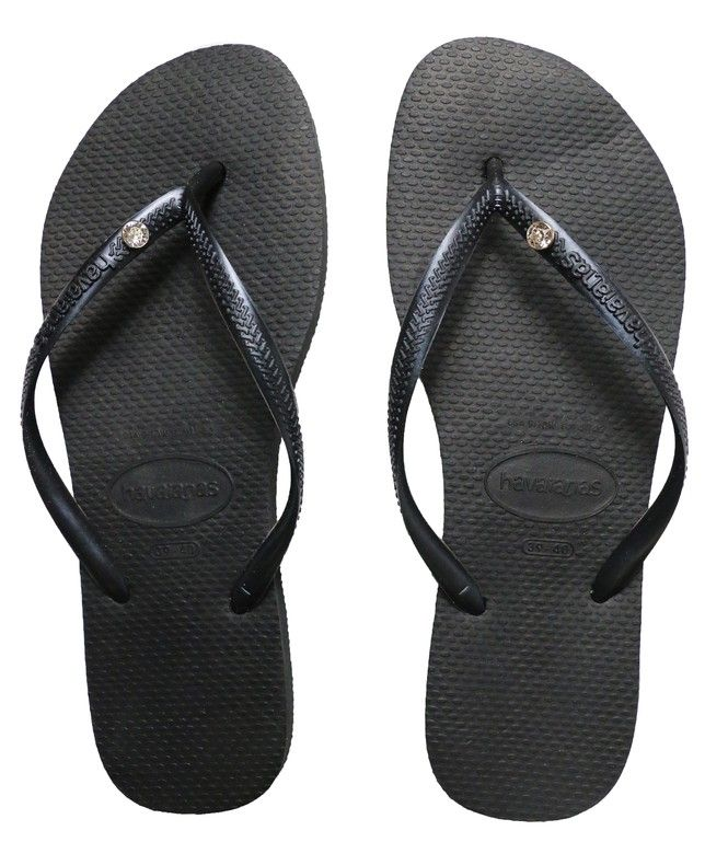 f8448ab96 Havaianas Slim Crystal Glamour Black Sandal features sparkling Swarovski  Elements pin embellishment on a slim metallic strap for eye-catching appeal.