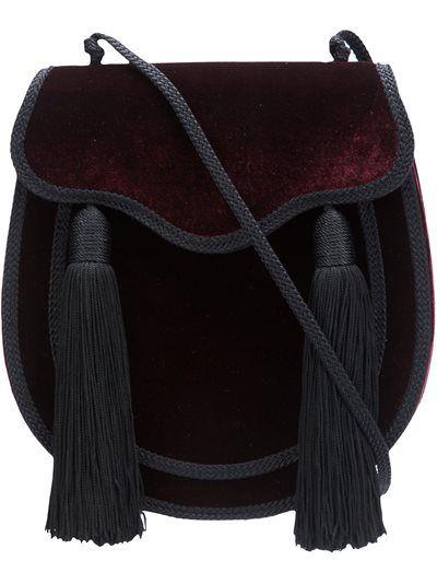 Saint Laurent Bordeaux and black velvet \'Opium\' crossbody bag   Bags ...