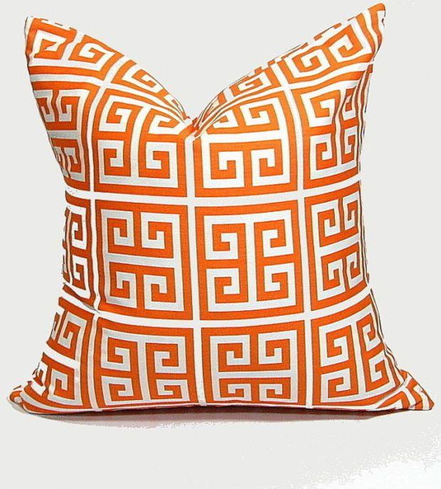 "Orange Pillow Cover GREEK KEY 24 inch Euro Sham ONE Decorator Pillow Cover tangerine, white Geometric Modern 24"""