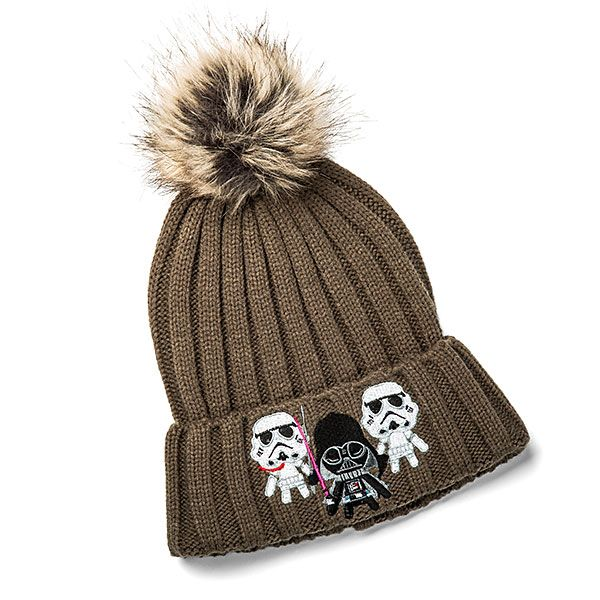 For the cold winter months, keep your head warm with this Darth Vader and Stormtrooper embroidered beanie with large, furry pom on top.