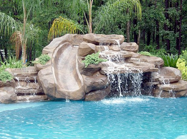 Waterfalls With A Slide Pool Water Features Pool Waterfall