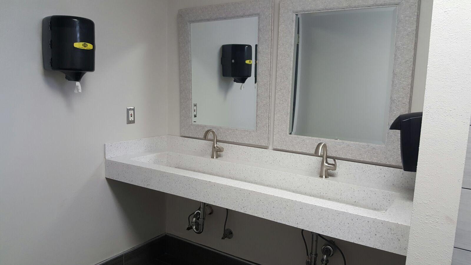 Silver Birch Corian Trough Sink Double Vanity
