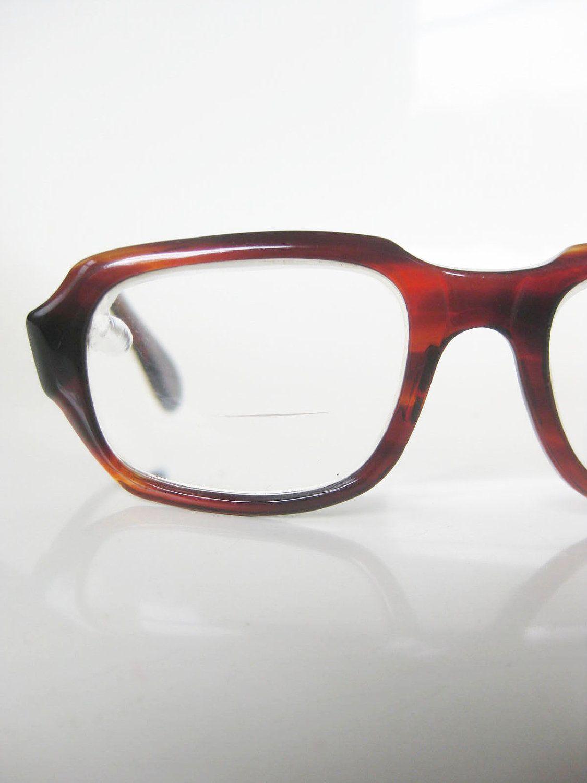 vintage 1960s mens glasses eyeglasses horn chunky