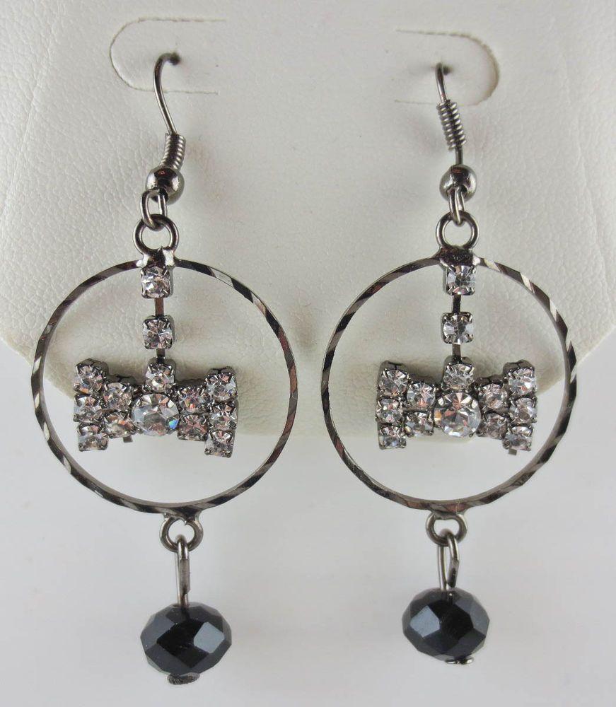 MACYS Dangling Rhinestone Bow Bead Hoop Earrings NEW in Leatherette Jewelry Box #Dangling