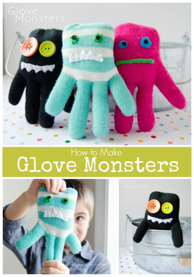 Hand sewing for kids - glove monsters. Learn how to make monster from old gloves!