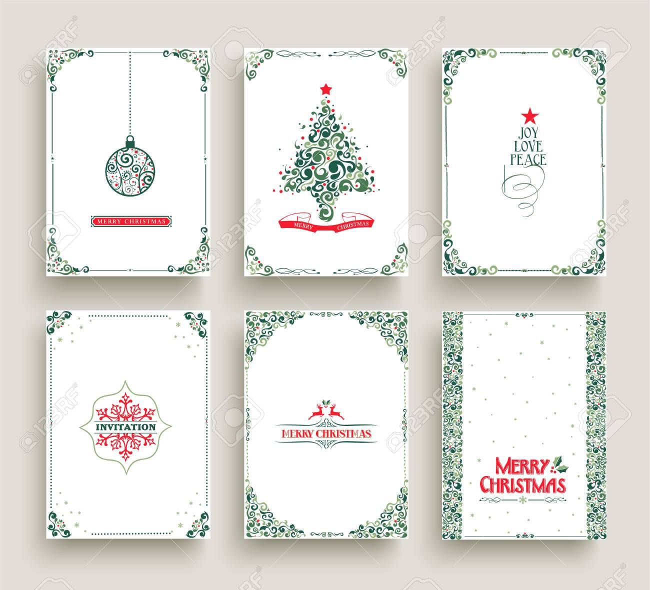 Merry Christmas Set Of Vintage Holiday Greeting Card Templates Retro Style Collection Vintage Holiday Greeting Cards Greeting Card Template Christmas Settings