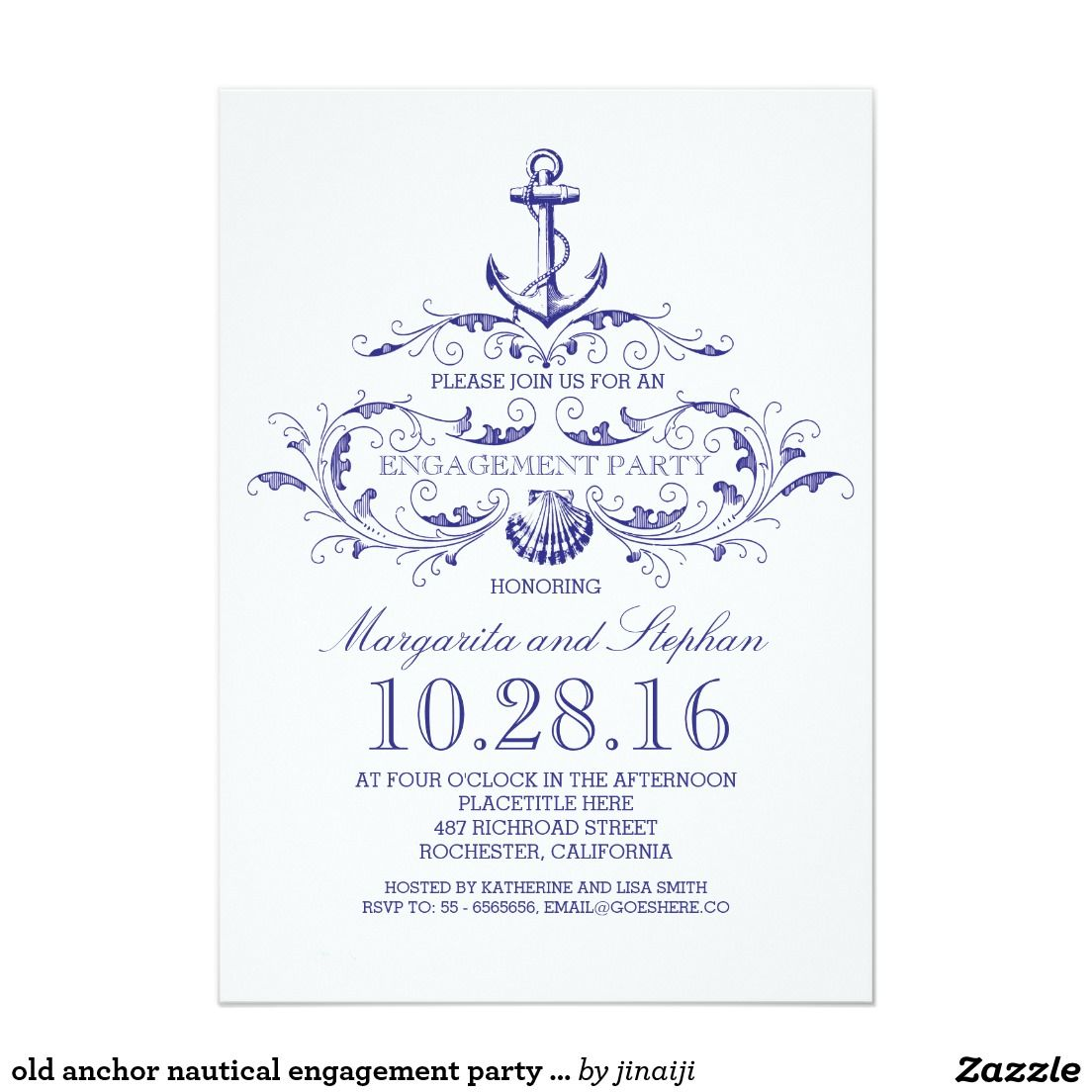 Old anchor nautical engagement party invite   Nautical engagement ...