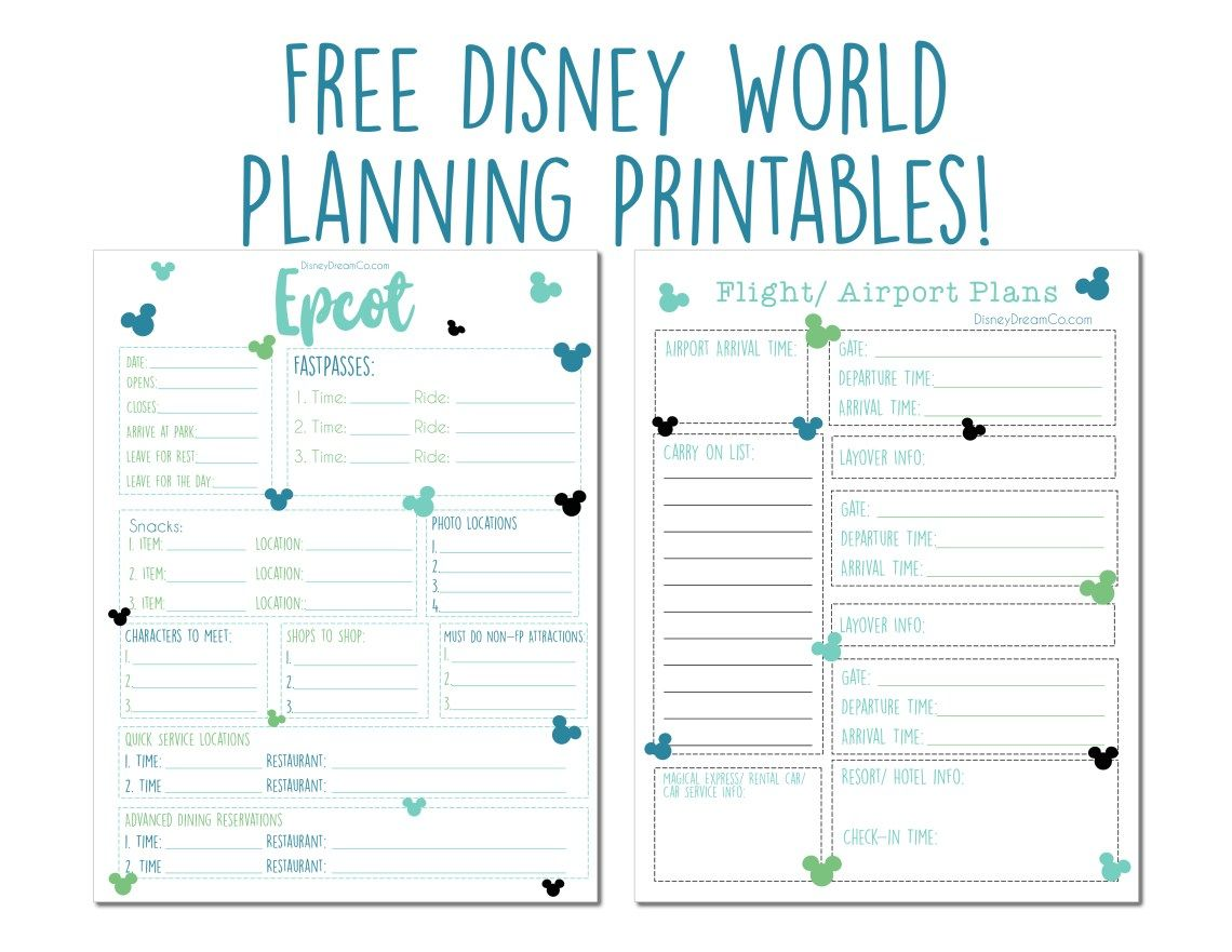 Disney World Free Planning Printables In