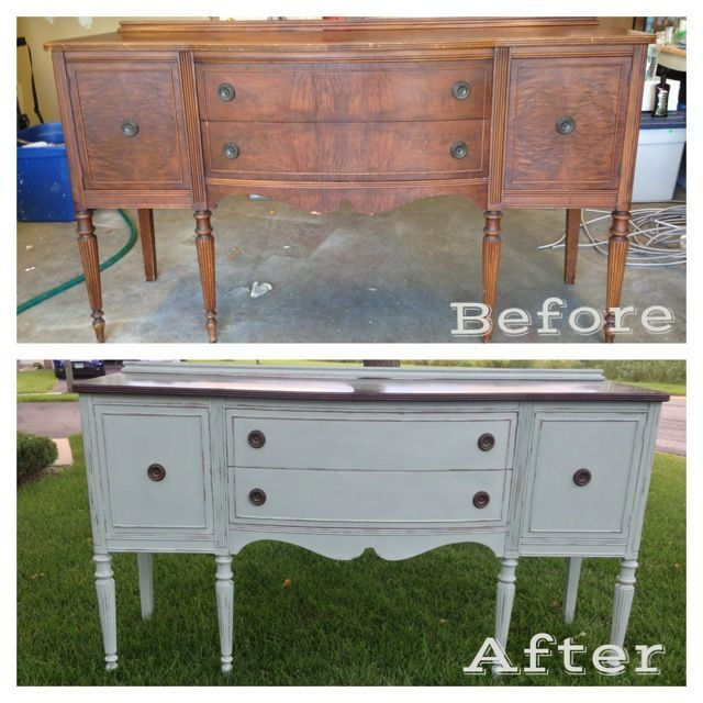 Before/After Antique Buffet. Painted with Annie Sloan Chalk Paint - Duck  Egg. Refinished Antique Furniture Antique ... - Refinished Antique Furniture Antique Furniture
