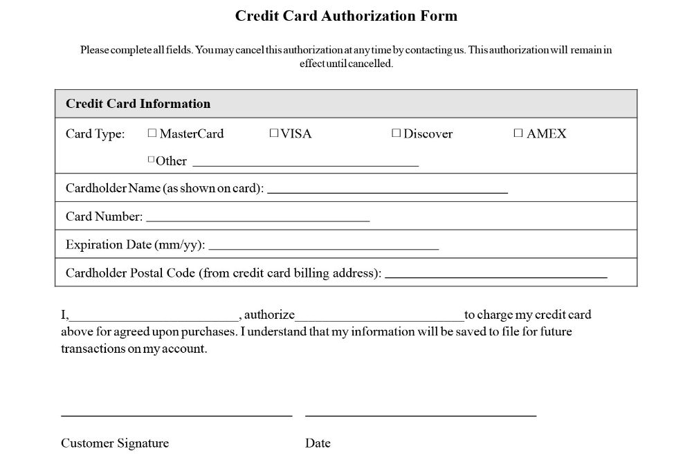 Credit Card Authorization Form Templates Download With Credit Card