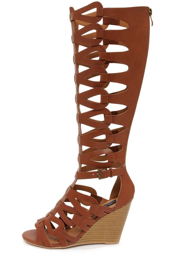 Heart Soul Anglica Cognac Tall Caged Wedge Gladiator Sandals
