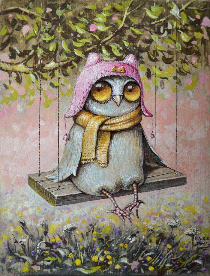 Рисунки веселые совы, поздравление рождением лиле
