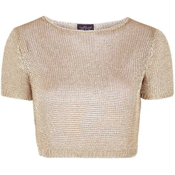8dc80b71f43 TOPSHOP PETITE Metal Yarn Tee ($70) ❤ liked on Polyvore featuring tops, t- shirts, shirts, crop tops, blusas, petite, rose gold, crop shirts, metal t  shirts ...