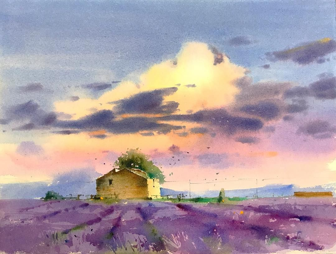 Lavender Field Watercolor Aquarelle Art Artwork