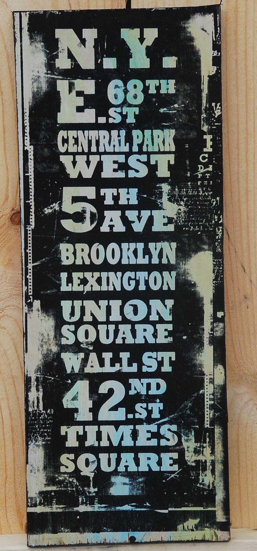 Vintage New York Street Signs. $25.00, via Etsy.