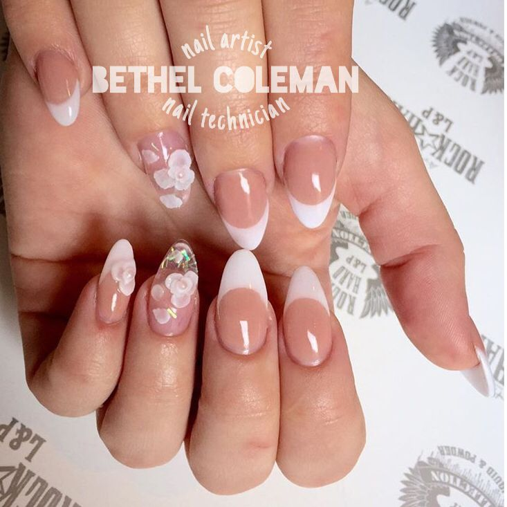 French Almond Acrylic Nails