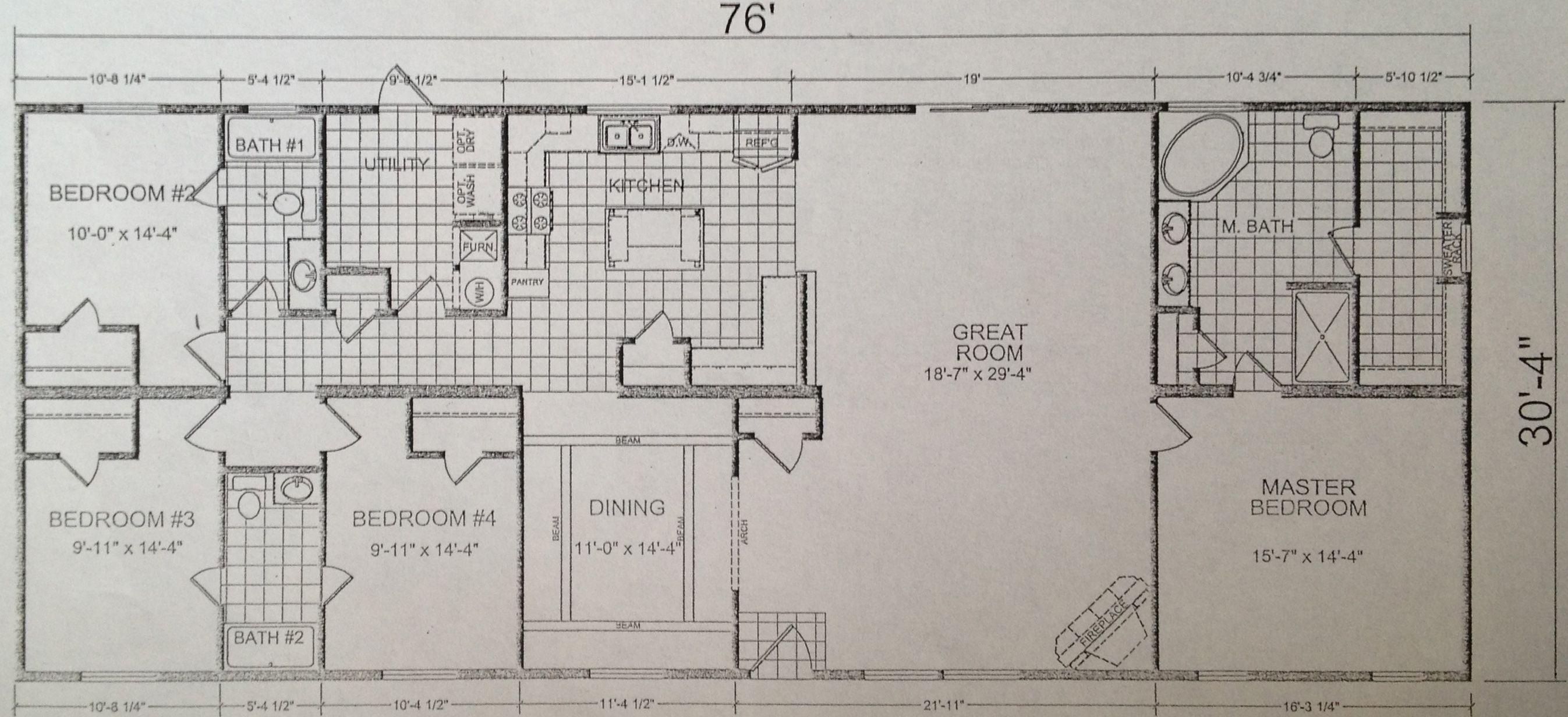 Triple Wide Mobile Home Floor Plans   Model 249 - Calvin Klein Homes on spartan mobile homes, mossy oak mobile homes, skyline mobile homes, southern energy mobile homes, daystar mobile homes,