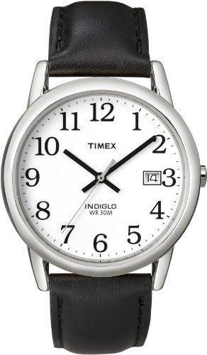Timex Men's T2H281 Easy Reader Black Leather Strap Silver-Tone Case Watch: http://www.amazon.com/Timex-T2H281-Reader-Leather-Silver-Tone/dp/B000AYYIYU/?tag=vietrafun-20