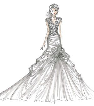 how to draw ruffled dresses | Designer Runway Sketches | Wedding ...