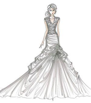 Fashion Design Sketches Wedding Dress Sketch Coloring Page