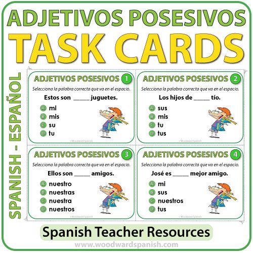 spanish possessive adjectives task cards adjetivos posesivos woodward spanish ch 2 as se. Black Bedroom Furniture Sets. Home Design Ideas