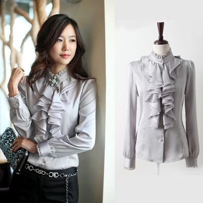 0e866d98a5186 New Women s Clothes WHITE Gray Black Ruffle Front Lace Collar Top Shirt  Blouse-in Blouses   Shirts from Apparel   Accessories on Aliexpress.