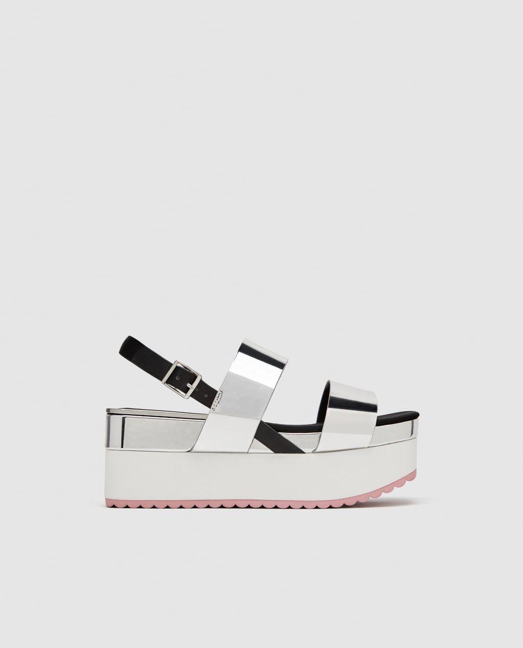 Sandaly Na Koturnie Z Paskami W Kolorze Srebrnym Sandals Women Shoes Shoes