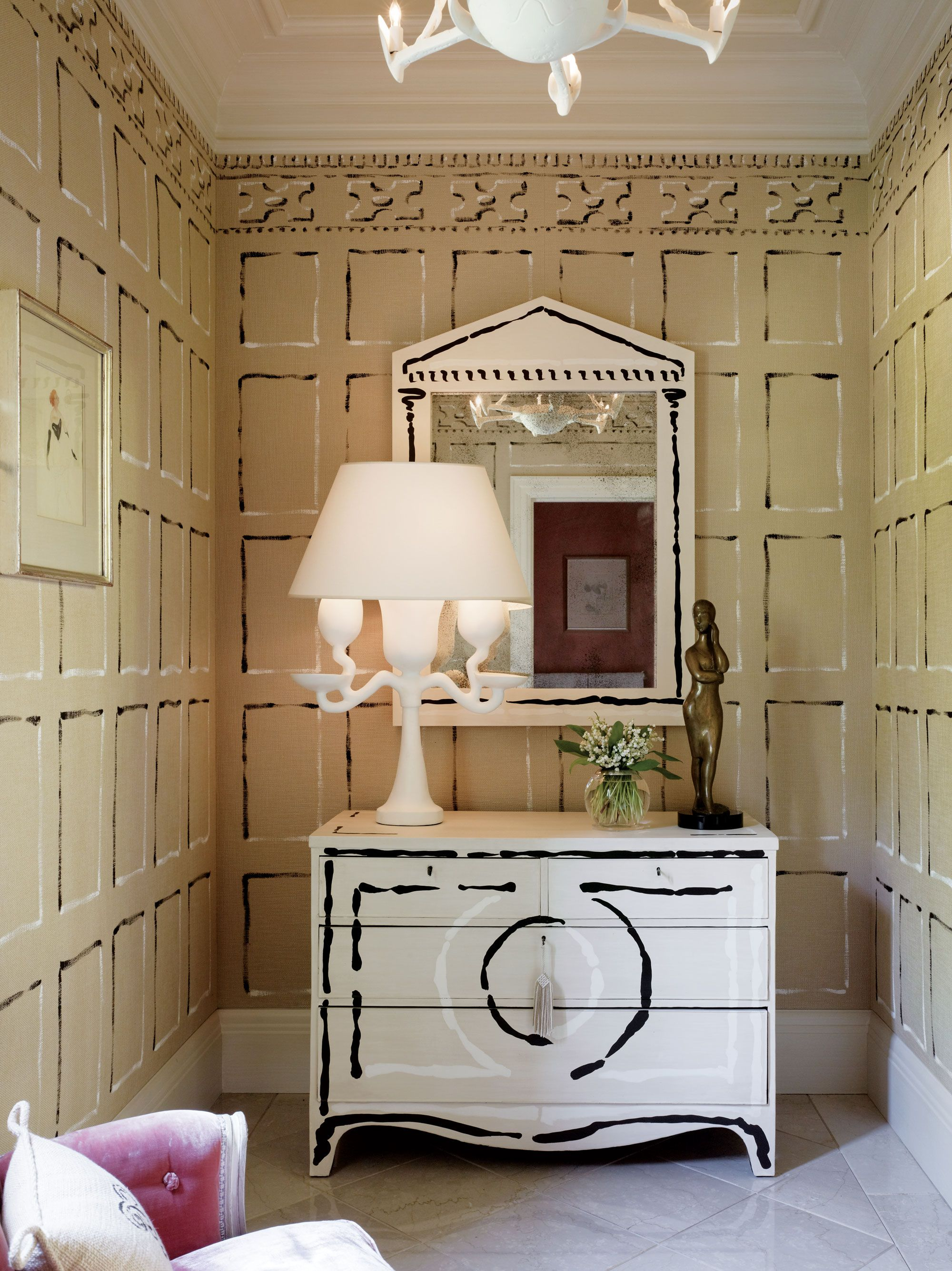 The Powder Room Walls Cabinet And Mirror Painted In A Charming