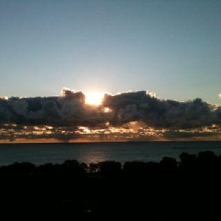 Sun rise over Lake Michigan.