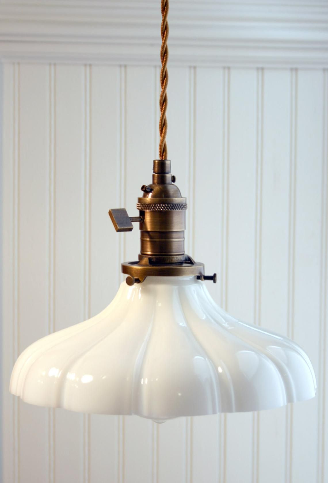 Sheffield Antique Brass Bare Wire Vintage Style Pendant Light