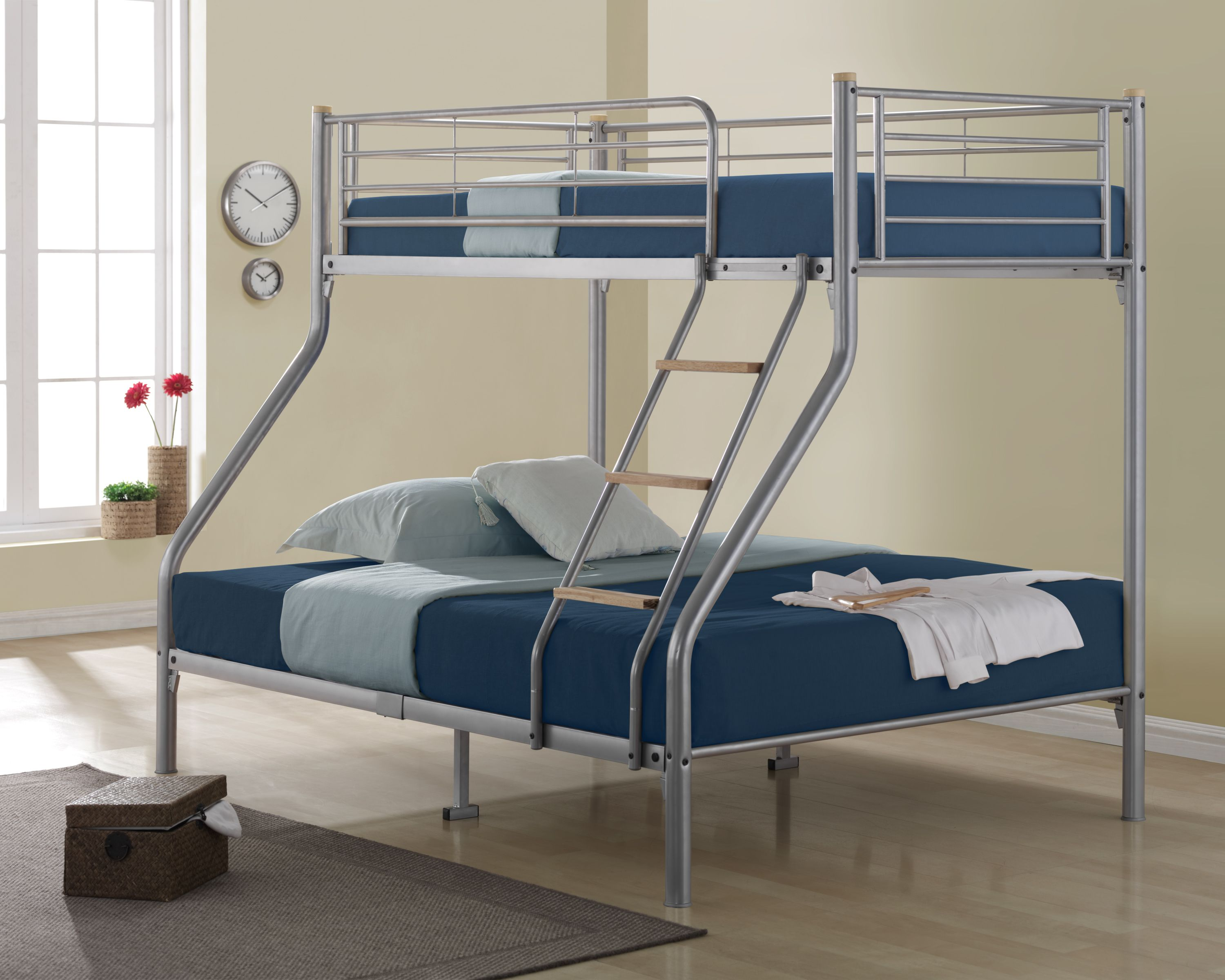 This Bonsoni Triple Sleeper Nexus Bunk Bed Frame Silver is