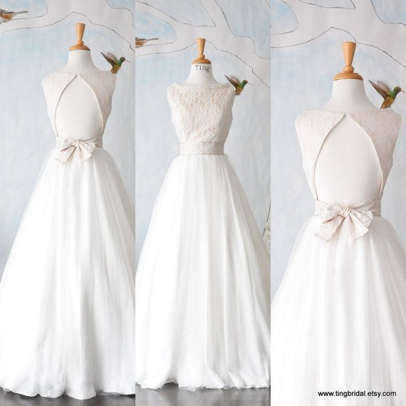 Yes I do Wedding gown-Custom Boat neck Open back full A line skirt ...