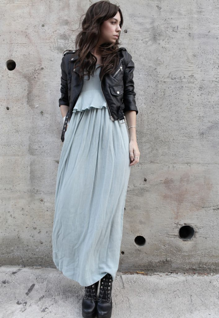 love the long, flowy dress paired with the tough motercycle jacket ...