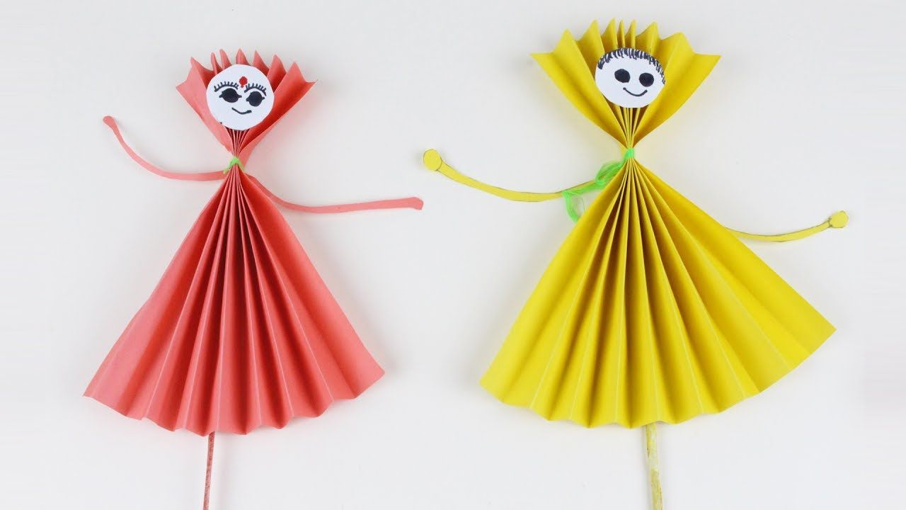 Origami Red And Yellow Paper Dolls How To Make Paper Doll Easy Boy A Origami Girl Paper Dolls Yellow Paper