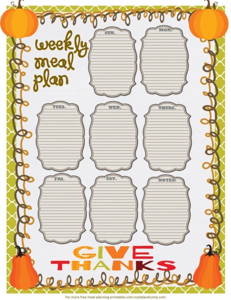 free printable meal planner give thanks | DIY Ideas | Pinterest ...